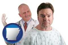 arkansas map icon and a nervous patient and a smiling urologist