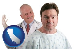california map icon and a nervous patient and a smiling urologist