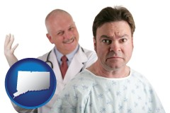 connecticut map icon and a nervous patient and a smiling urologist