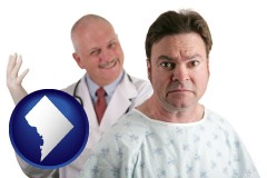 washington-dc map icon and a nervous patient and a smiling urologist