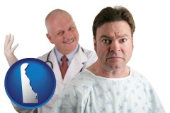 delaware map icon and a nervous patient and a smiling urologist