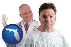 florida map icon and a nervous patient and a smiling urologist