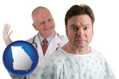 georgia map icon and a nervous patient and a smiling urologist