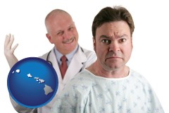 hawaii map icon and a nervous patient and a smiling urologist