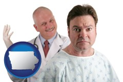 iowa map icon and a nervous patient and a smiling urologist