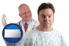kansas map icon and a nervous patient and a smiling urologist