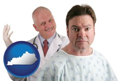 kentucky map icon and a nervous patient and a smiling urologist
