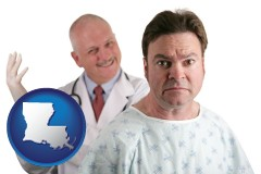 louisiana map icon and a nervous patient and a smiling urologist
