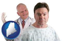 maine map icon and a nervous patient and a smiling urologist