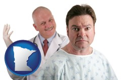 minnesota map icon and a nervous patient and a smiling urologist