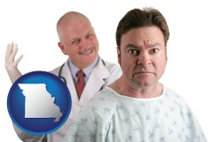missouri map icon and a nervous patient and a smiling urologist