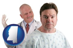 mississippi map icon and a nervous patient and a smiling urologist