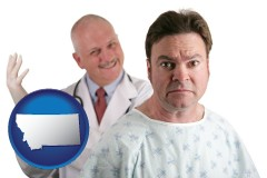montana map icon and a nervous patient and a smiling urologist