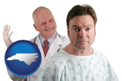 north-carolina map icon and a nervous patient and a smiling urologist