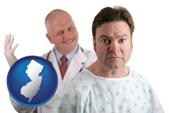 new-jersey map icon and a nervous patient and a smiling urologist
