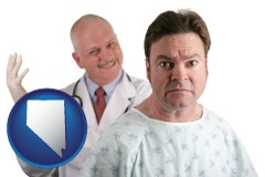nevada map icon and a nervous patient and a smiling urologist