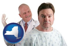 new-york map icon and a nervous patient and a smiling urologist