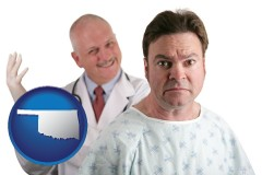 oklahoma map icon and a nervous patient and a smiling urologist