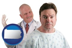 pennsylvania map icon and a nervous patient and a smiling urologist