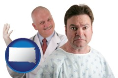 south-dakota map icon and a nervous patient and a smiling urologist