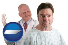 tennessee map icon and a nervous patient and a smiling urologist