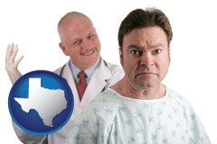 texas map icon and a nervous patient and a smiling urologist