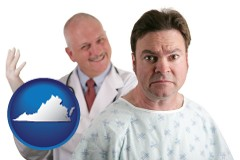 virginia map icon and a nervous patient and a smiling urologist