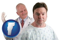 vermont map icon and a nervous patient and a smiling urologist