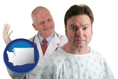 washington map icon and a nervous patient and a smiling urologist