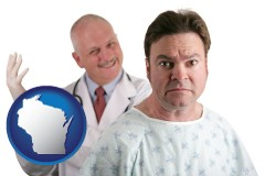 wisconsin map icon and a nervous patient and a smiling urologist