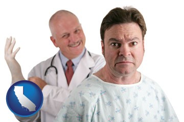 a nervous patient and a smiling urologist - with California icon