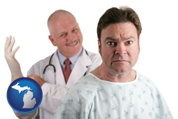 a nervous patient and a smiling urologist - with Michigan icon