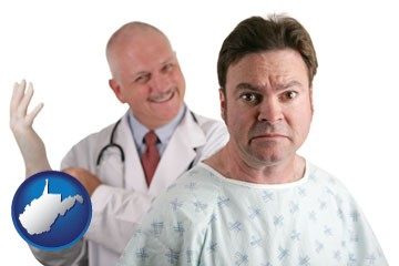 a nervous patient and a smiling urologist - with West Virginia icon