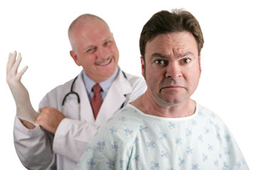 a nervous patient and a smiling urologist